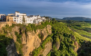 Картинка скала, здания, дома, каньон, Испания, Spain, Андалусия, Andalusia, Ronda, Ронда, El Tajo canyon