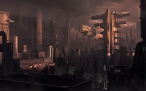 Обои Город, Будущее, Здания, City, Fantasy, Арт, Art, Фантастика, Concept Art, Vehicles, Science Fiction, Transport, by ...
