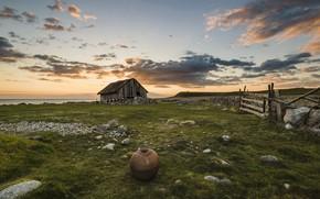 Картинка закат, природа, дом