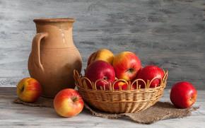 Картинка яблоки, кувшин, натюрморт