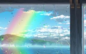 Картинка море, капли, радуга, окно, после дождя