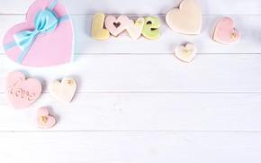 Картинка коробка, подарок, сердце, love, heart, pink, romantic, cookies, gift box