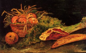 Картинка Vincent van Gogh, Still Life with Apples, Meat and a Roll