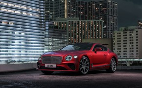 Картинка ночь, красный, город, купе, Bentley, 2019, Continental GT V8