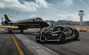 Обои рендеринг, Bugatti, суперкар, Private Jet, Chiron