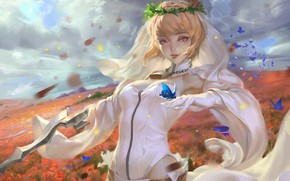 Картинка девушка, бабочка, меч, сейбер, Fate / Grand Order, Fate / Extra