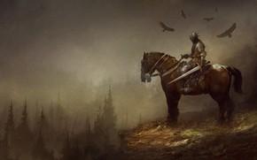 Картинка Лошадь, Лес, Доспехи, Меч, Конь, Fantasy, Рыцарь, Фантастика, Illustration, Knight, Всадник, Sword, Forest, Characters, Armor, …