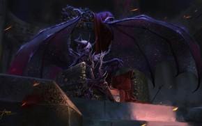 Картинка взгляд, крылья, демон, фэнтези, арт, трон