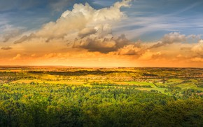 Картинка поле, деревья, закат, тучи, панорама