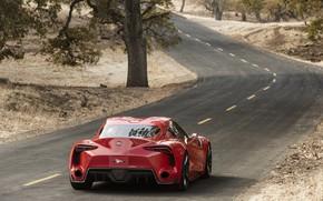 Картинка красный, купе, поворот, сзади, Toyota, 2014, FT-1 Concept