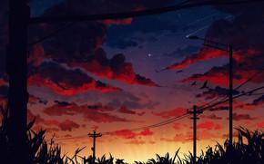 Картинка sky, bird, sunset, art, clouds, stars, artist, digital art, artwork, street light, Gavryl