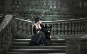 Картинка фон, женщина, собака