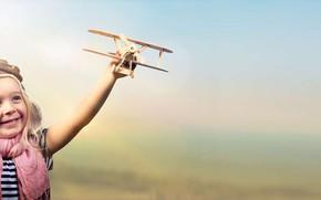 Картинка радость, самолет, игрушка, ребенок, девочка, деревяный