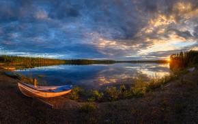 Картинка sunset, boat, Kuusamo, Käylä sunset