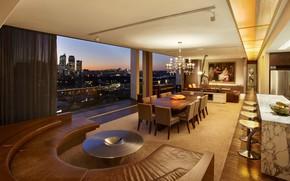 Картинка интерьер, кухня, мегаполис, гостиная, люкс, модерн, столовая