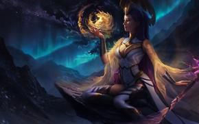 Картинка грудь, девушка, ночь, сияние, фантастика, магия, платье, маг, жезл, lana solaris