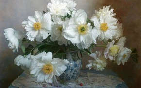 Картинка цветы, ваза, столик, салфетка, пионы