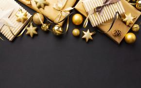 Картинка украшения, золото, шары, Новый Год, Рождество, подарки, golden, черный фон, black, Christmas, balls, background, New …