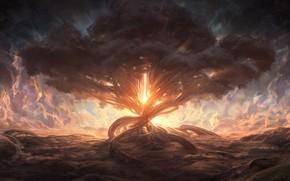 Картинка облака, свет, дерево