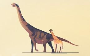 Картинка Минимализм, Стиль, Жираф, Динозавр, Арт, Art, Style, Minimalism, Динозавры, Гиганты, Атлас динозавров, James Gilleard, Dinosaur …