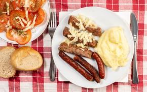 Картинка фото, Тарелка, Помидоры, Еда, Вторые блюда, Сосиска, Мясные продукты, Хлеб
