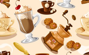 Картинка фон, кофе, текстура, десерт, pattern, Coffee, seamless