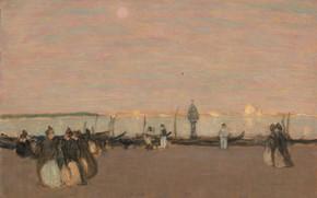 Картинка картина, жанровая, James Wilson Morrice, Джеймс Уилсон Моррис, Вечерняя Прогулка. Венеция