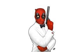 Картинка Минимализм, Рисунок, Пистолет, Маска, Арт, Art, Смокинг, Deadpool, Marvel, Дэдпул, Comics, MARVEL, Creatures, MARVEL Comics, …
