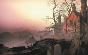 Картинка мост, туман, замок