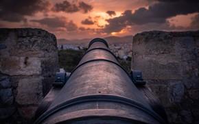 Картинка закат, пушка, крепость