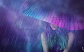 Картинка Девушка, Ночь, Рисунок, Зонтик, Арт, Art, Rain, Concept Art, Cyberpunk 2077, Science Fiction, Cyberpunk, Matte …