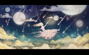 Картинка небо, девушка, ночь, качели