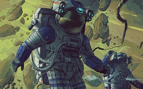 Картинка Скафандр, Человек, Стиль, Астронавты, Астронавт, Космонавт, Fantasy, Арт, Art, Style, Фантастика, Fiction, Man, Sci-Fi, Escape, …