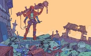 Картинка Девушка, Рисунок, Хлам, Оружие, Разрушения, Fantasy, Пушка, Арт, Art, Robot, Robots, Механизмы, Фантастика, Киборг, Cyberpunk, …