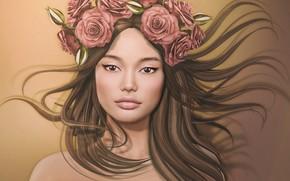 Картинка девушка, цветы, лицо