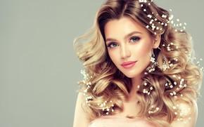 Картинка взгляд, девушка, макияж, прическа, белые, цветочки, невеста, edwardderule