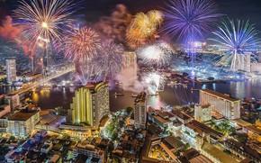 Картинка ночь, город, здания, Таиланд, Тайланд, Бангкок, салюты