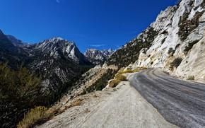 Картинка дорога, горы, Калифорния, США, Whitney Portal