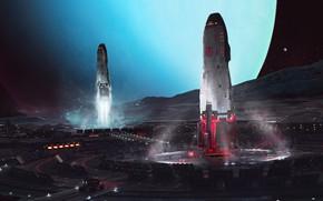 Картинка Планета, Корабли, Space, Космические Корабли, Космический Корабль, Спутник, Запуск, Planet, Spaceship, Uranus, Science Fiction, Starship, ...