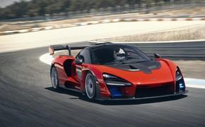 Картинка McLaren, скорость, суперкар, 2018, Senna, Delta Red