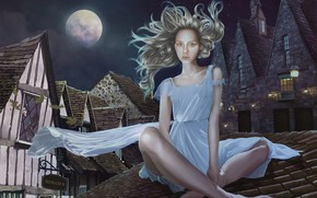 Картинка девушка, ночь, город, луна, дома, на крыше