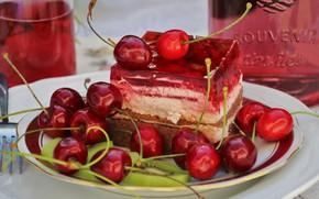 Картинка вишня, стакан, ягоды, бутылка, еда, киви, сок, тарелка, торт, красные, напиток, пирожное, фрукты, вилка, натюрморт, …
