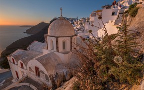 Картинка Греция, церковь, остров Санторини