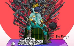 Картинка оружие, черепа, трон, PlayerUnknown's Battlegrounds