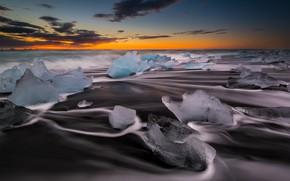 Картинка зарево, пляж Рейнисфьяра, Исландия, лед