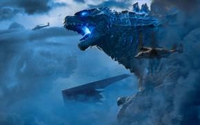 Картинка Тучи, Битва, Годзилла, Оскал, Кинг Гидора, Godzilla: King of the Monsters, Годзилла 2: Король монстров