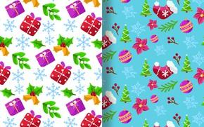 Картинка зима, снежинки, фон, новый год, текстура, подарки
