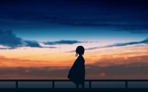 Картинка небо, закат, девочка, постапокалипсис, by Gracile