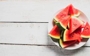 Картинка лето, Арбуз, ягода, Тарелка