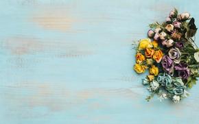 Картинка цветы, фон, colorful, wood, flowers, bright